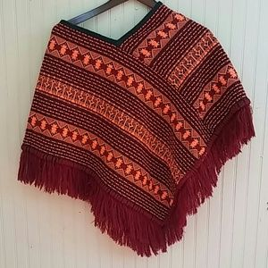 Women Sweater Fringe Poncho handmade